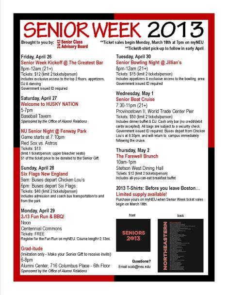 SENIOR WEEK 2013- Get your tickets now!