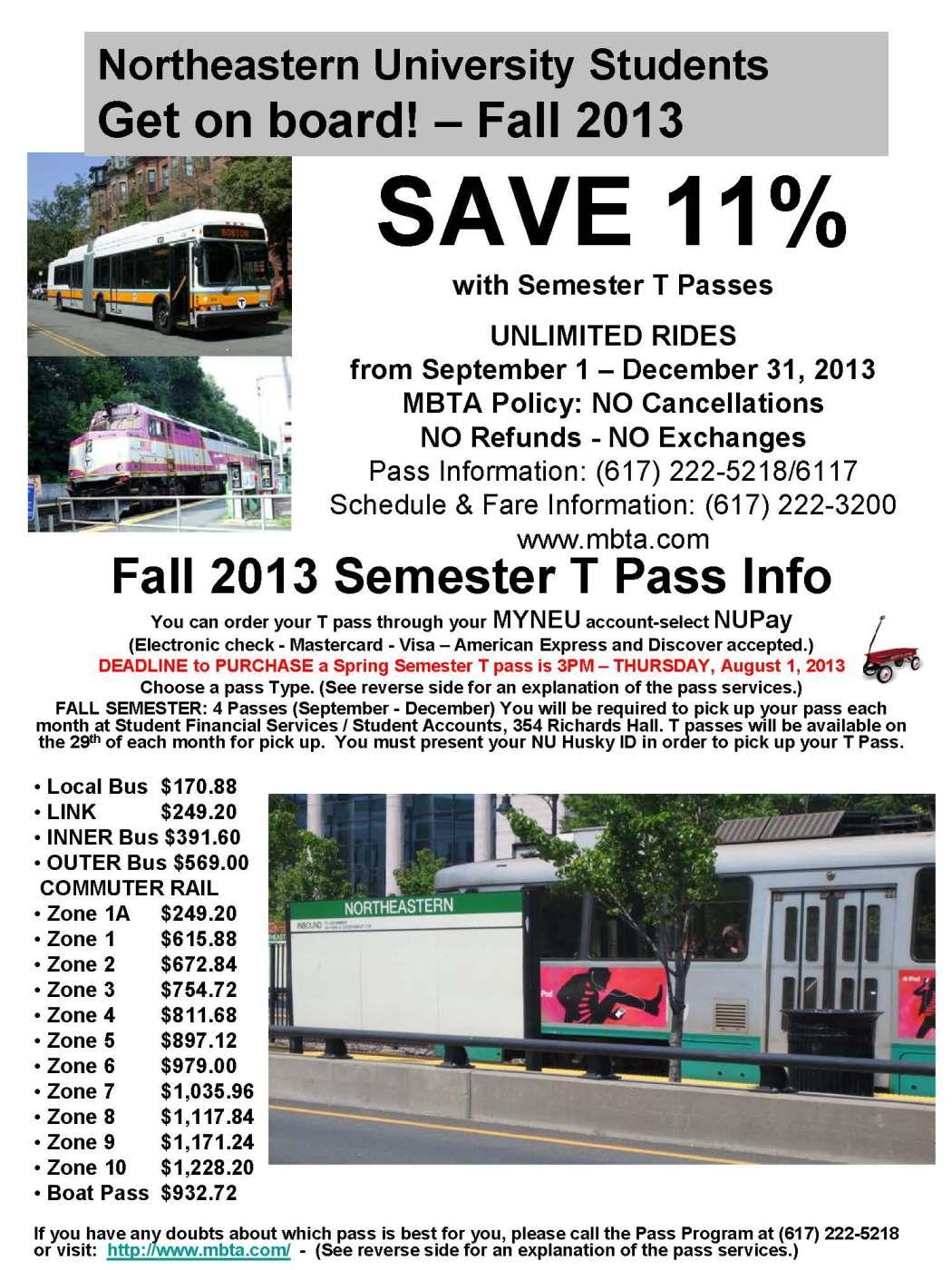 MBTA Discounted Semester T-Pass  via NUpay