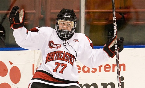 Kendall Coyne (Northeastern - 77) celebrates her first of two goals in the game.