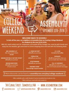 college weekend assembly row